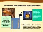 consumers lack awareness about production