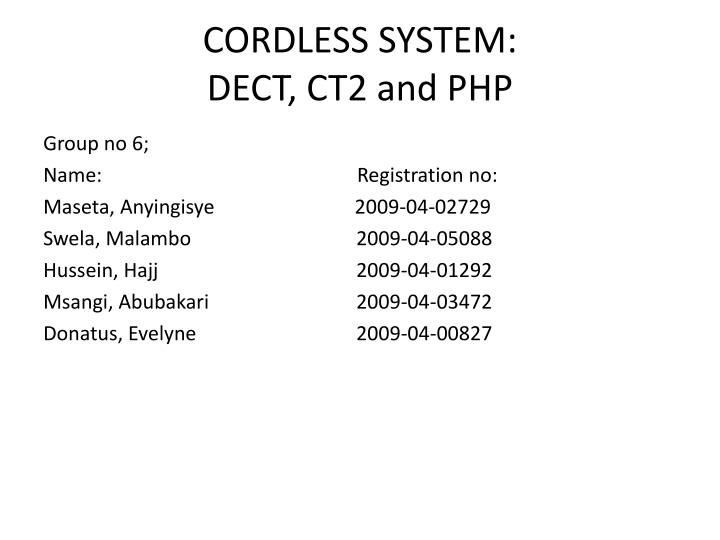 cordless system dect ct2 and php n.