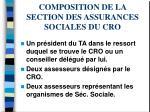 composition de la section des assurances sociales du cro