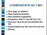 composition du cro