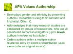 apa values authorship
