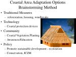 coastal area adaptation options brainstorming method