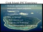 cook islands inc experience