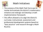 math initiatives