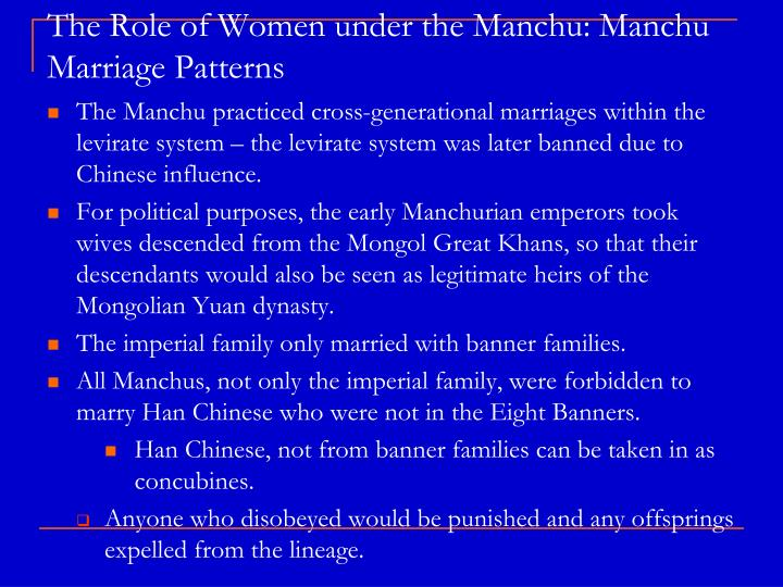 The Role of Women under the Manchu: Manchu Marriage Patterns