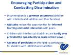 encouraging participation and combatting discrimination