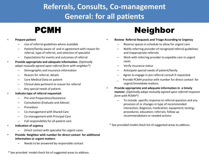 referrals consults co management general for all patients pcmh neighbor n.