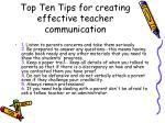 top ten tips for creating effective teacher communication