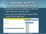 debugger datatips for complex numbers