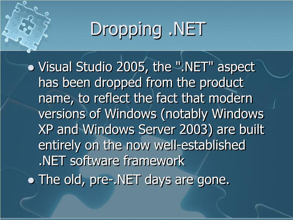 Dropping .NET