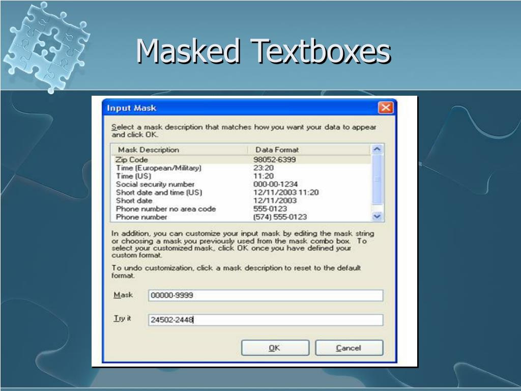 Masked Textboxes