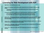 licensing for web development with asp