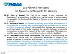 10 5 general principles for appeals and requests for waivers