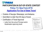 participation in out of state contest