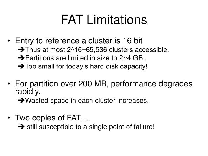 FAT Limitations