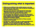 distinguishing what is important