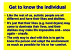 get to know the individual