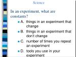 in an experiment what are constants