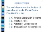 the model document for the first 10 amendments to the united states constitution is the