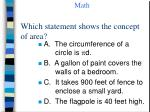 which statement shows the concept of area