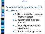 which statement shows the concept of perimeter