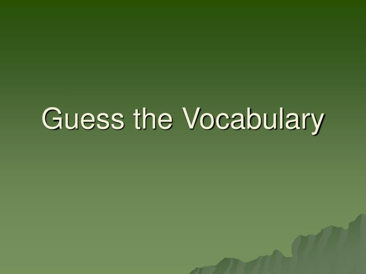 guess the vocabulary n.