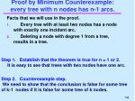 proof by minimum counterexample every tree with n nodes has n 1 arcs