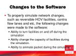 changes to the software