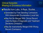 clinical episodes missing or erroneous information