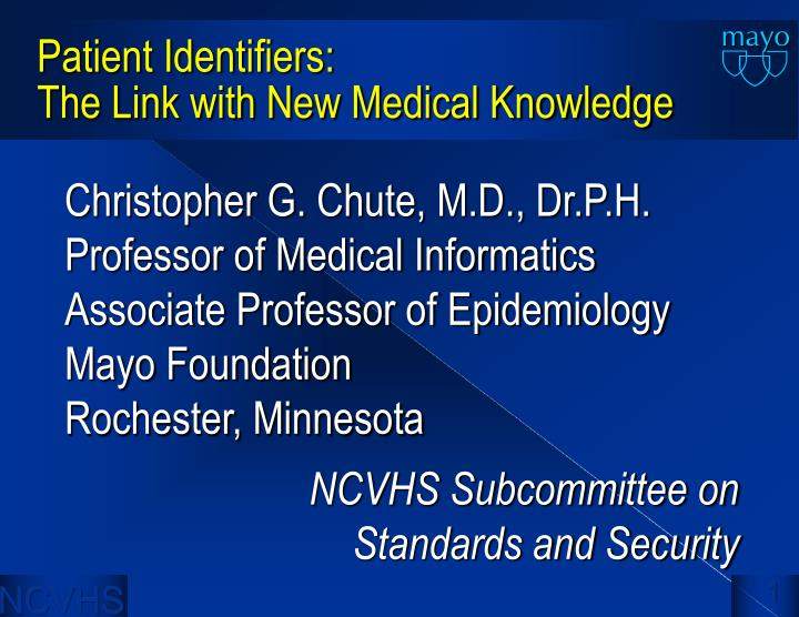 patient identifiers the link with new medical knowledge n.