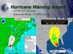 hurricane warning issued