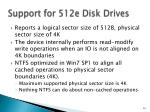 support for 512e disk drives