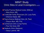 minit study clinic sites local investigators con t