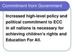 commitment from government
