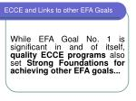 ecce and links to other efa goals
