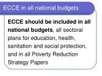 ecce in all national budgets