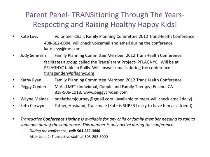 parent panel transitioning through the years respecting and raising healthy happy kids n.