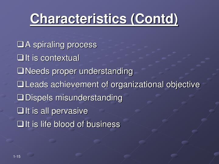 Characteristics (Contd)