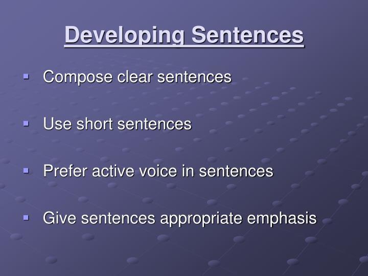 Developing Sentences
