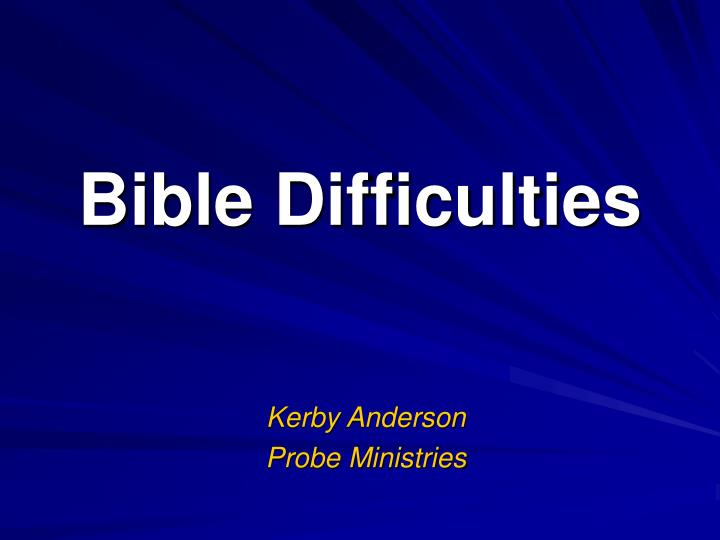 bible difficulties n.