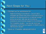 next steps for you