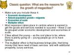 classic question what are the reasons for the growth of megacities