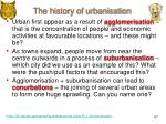 the history of urbanisation