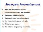 strategies processing cont