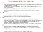 summary of subjective analysis