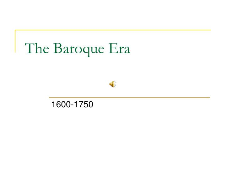 the baroque era n.