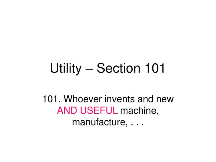 utility section 101 n.