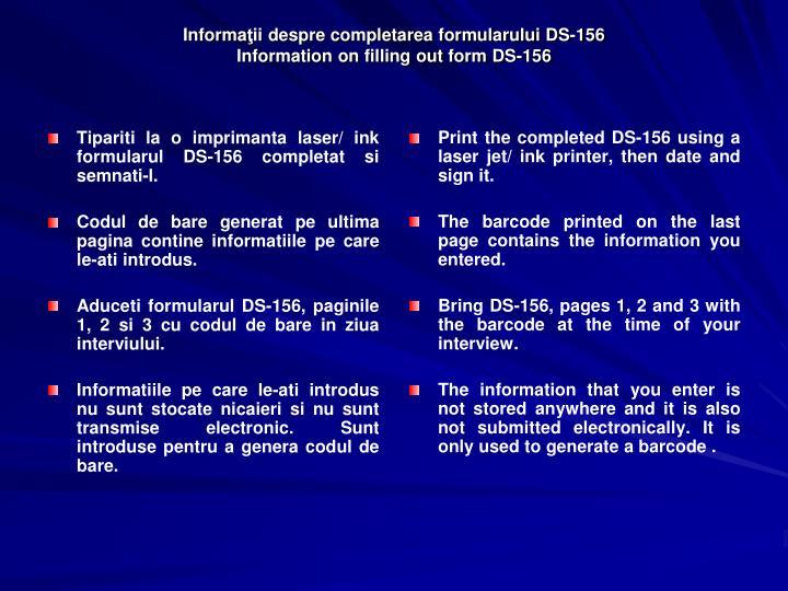 Informa ii despre completarea formularului ds 156 information on filling out form ds 1563