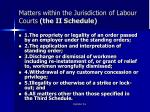 matters within the jurisdiction of labour courts the ii schedule