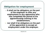 obligation for employment